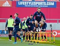 10th October 2020; Thomond Park, Limerick, Munster, Ireland; Guinness Pro 14 Rugby, Munster versus Edinburgh; Edinburgh players warm up prior to kickoff