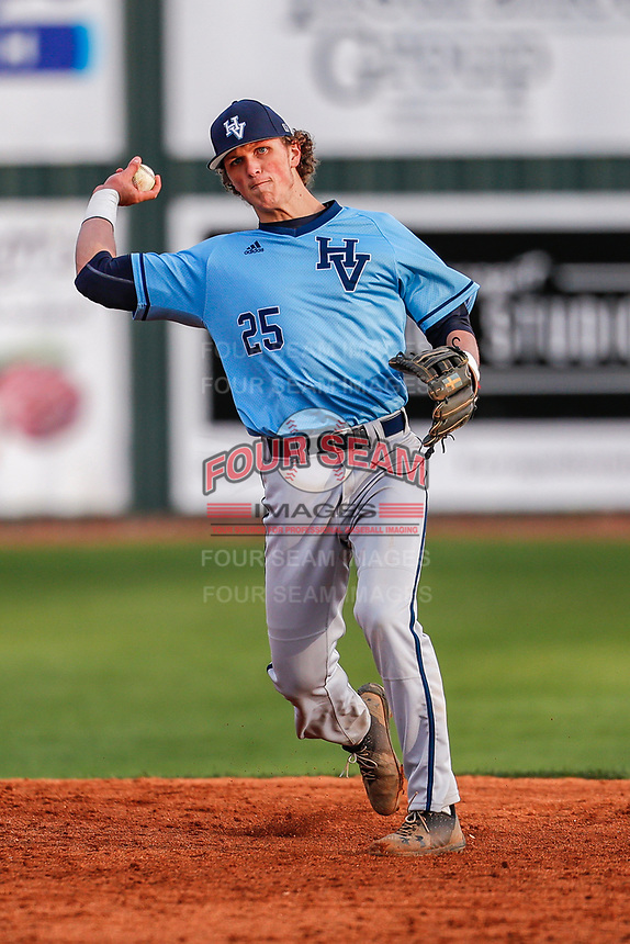 Hardin Valley Academy Hawks shortstop Lukas Cook (25) in action against the Farragut High School Admirals in Knoxville, Tennessee, on April 1, 2019. Farragut beat Hardin Valley 4-1. (Danny Parker/Four Seam Images)