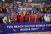 29th August 2021; Luzhniki Stadium, Moscow, Russia: FIFA World Cup Beach Football tournament; Russia versus Japan;  Russian players celebrate the title after the match between Russia and Japan with the winners trophy