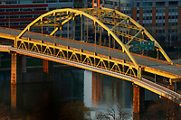 An empty Fort Duquesne Bridge is shown from the Mount Washington neighborhood on Tuesday April 7, 2020 in Pittsburgh, Pennsylvania. (Photo by Jared Wickerham/Pittsburgh City Paper)