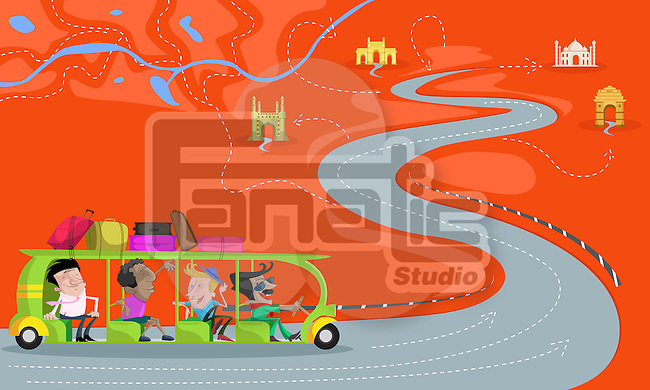 Illustrative image of men travelling in bus representing India tour