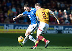 Motherwell v St Johnstone….30.03.19   Fir Park   SPFL<br />Chris Kane is closed down by Richard Tait<br />Picture by Graeme Hart. <br />Copyright Perthshire Picture Agency<br />Tel: 01738 623350  Mobile: 07990 594431