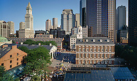 """Faneuil Hall, Boston, MA , the """"Cradle of Liberty"""", with Quincy Market to the left. on the Freedom Trail.  Charles Bullfinch designed Faneuil Hall in 1805, enlarging an earlier market building."""