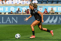 BRIDGEVIEW, IL - JULY 18: Sarah Gorden #11 of the Chicago Red Stars dribbles the ball during a game between OL Reign and Chicago Red Stars at SeatGeek Stadium on July 18, 2021 in Bridgeview, Illinois.