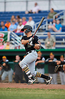 West Virginia Black Bears catcher Paul Brands (19) follows through on a swing during a game against the Batavia Muckdogs on June 19, 2018 at Dwyer Stadium in Batavia, New York.  West Virginia defeated Batavia 7-6.  (Mike Janes/Four Seam Images)