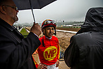 ARCADIA, CA - MARCH 10: Mike Smith awaits the stewards ruling at the San Felipe Stakes at Santa Anita Park on March 10, 2018 in Arcadia, California.(Photo by Alex Evers/Eclipse Sportswire/Getty Images)