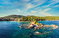 The beach Ellinika (Agios Nikolaos) in Evia island, Greece