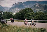 Daniël Oss (ITA/Bora Hansgrohe) & Silvan Dillier (SUI/AG2R-La Mondiale) up the final climb<br /> <br /> Stage 5: Gstaad > Leukerbad (155km)<br /> 82nd Tour de Suisse 2018 (2.UWT)