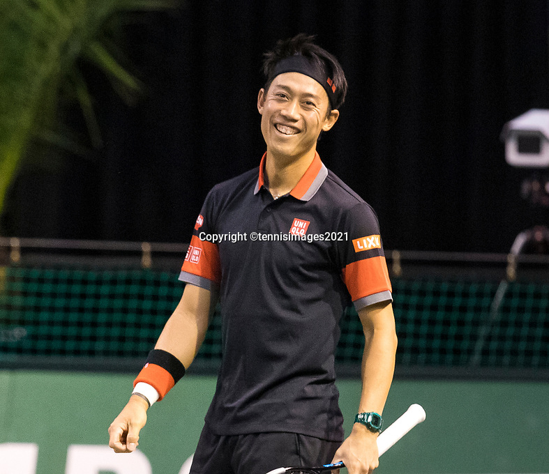 Rotterdam, The Netherlands, 2 march  2021, ABNAMRO World Tennis Tournament, Ahoy, First round doubles: Kei Nishikori (JPN).<br /> Photo: www.tennisimages.com/