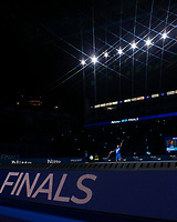 18th November 2020, O2, London, England; Novak Djokovic of Serbia serves during the singles group match against Daniil Medvedev of Russia at the ATP  finals in London