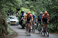 Roompot Charles riders Matthias De Witte (BEL/Roompot Chares), Stijn Steels (BEL/Roompot Charles) leading the race in a attempt to escape. <br /> <br /> Circuit de Wallonie 2019<br /> One Day Race: Charleroi – Charleroi 192.2km (UCI 1.1.)<br /> Bingoal Cycling Cup 2019