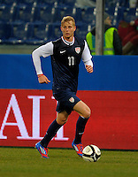Brek Shea  (USA), during the friendly match Italy against USA at the Stadium Luigi Ferraris at Genoa Italy on february the 29th, 2012.