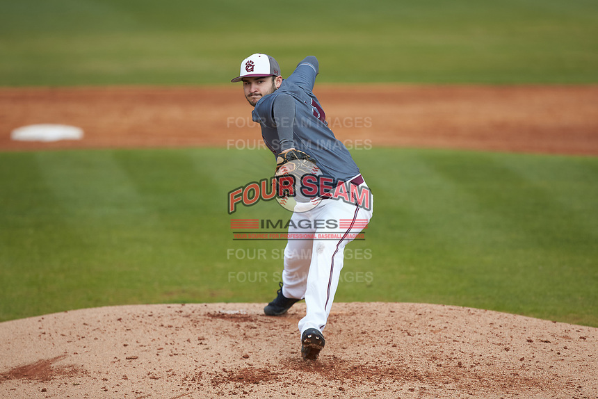Concord Mountain Lions relief pitcher Caleb Hare (41) in action against the Wingate Bulldogs at Ron Christopher Stadium on February 1, 2020 in Wingate, North Carolina. The Bulldogs defeated the Mountain Lions 8-0 in game one of a doubleheader. (Brian Westerholt/Four Seam Images)