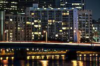 Urban apartment building at night, Philadelphia, Pennsylvania