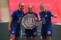 29th August 2020; Wembley Stadium, London, England; Community Shield Womens Final, Chelsea versus Manchester City; Fran Kirby and Maren Mjelde of Chelsea Women celebrate with the Community Shield