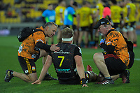 Sam Cane goes down injured during the Super Rugby Aotearoa match between the Hurricanes and Chiefs at Sky Stadium in Wellington, New Zealand on Saturday, 8 August 2020. Photo: Dave Lintott / lintottphoto.co.nz