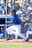 Toronto Blue Jays outfielder Anthony Gose (8) during a spring training game against the Pittsburgh Pirates on February 28, 2014 at Florida Auto Exchange Stadium in Dunedin, Florida.  Toronto defeated Pittsburgh 4-2.  (Mike Janes/Four Seam Images)