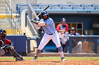 FCL Rays first baseman Stir Candelario (79) bats during a game against the FCL Twins on July 20, 2021 at Charlotte Sports Park in Port Charlotte, Florida.  (Mike Janes/Four Seam Images)