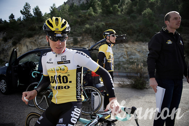 Steven Kruijswijk (NLD/LottoNL-Jumbo) taking a break up Coll de Rates (Alicante, Spain)<br /> <br /> January 2016 Training Camps