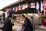 Markt in der Altstadt von ZADAR - Hafenstadt an der Adria in Dalmatien Republik Kroatien / Market in the historic city of Zadar - port city on the adriatic sea,  Republic of Croatia<br /> <br /> - Republika Hrvatska - Sign of croatian bank in the Republic of Croatia