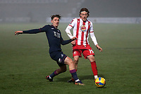 Arthur Read of Stevenage and George Byers of Swansea City during Stevenage vs Swansea City, Emirates FA Cup Football at the Lamex Stadium on 9th January 2021