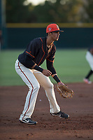 AZL Giants Black third baseman Abdiel Layer (17) during an Arizona League game against the AZL Angels at the San Francisco Giants Training Complex on July 1, 2018 in Scottsdale, Arizona. The AZL Giants Black defeated the AZL Angels by a score of 4-2. (Zachary Lucy/Four Seam Images)