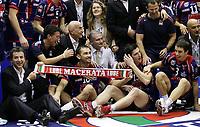 premiazione del Macerata: Serbastian Swiderski e Igor Omrcen.<br /> <br /> M.Roma Volley vs Lube Banca Marhe Macerata 0-3<br /> <br /> Finale di Coppa Italia di Pallavolo<br /> <br /> Dacth Forum Assago, Milano, 02 Marzo 2008<br /> <br /> Photo Antonietta Baldassarre Insidefoto