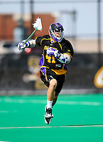 10 April 2011: University at Albany Great Dane defender Anthony Ostrander, a Sophomore from Massapequa, NY, in action against the University of Vermont Catamounts on Moulton Winder Field in Burlington, Vermont. The Catamounts defeated the visiting Danes 11-6 in America East play. Mandatory Credit: Ed Wolfstein Photo
