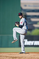 AZL Indians relief pitcher Dace Kime (34) prepares to deliver a pitch during a game against the AZL Angels on August 7, 2017 at Tempe Diablo Stadium in Tempe, Arizona. AZL Indians defeated the AZL Angels 5-3. (Zachary Lucy/Four Seam Images)
