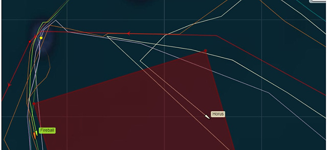 A screenshot from the tracker apparently showing Hourus in TSS, not rounding the Fastnet Rock