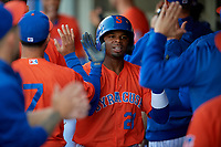 Syracuse Mets Rajai Davis (21) celebrates with teammates after scoring a run during an International League game against the Charlotte Knights on June 11, 2019 at NBT Bank Stadium in Syracuse, New York.  Syracuse defeated Charlotte 15-8.  (Mike Janes/Four Seam Images)