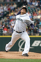 July 23, 2008: Seattle Mariners' Felix Hernandez unleashes a pitch against the Boston Red Sox at Safeco Field in Seattle, Washington.