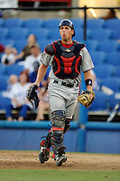 Fort Myers Miracle catcher Kyle Knudson (21) during a game against the Dunedin Blue Jays July 20, 2013 at Florida Auto Exchange Stadium in Dunedin, Florida.  Fort Myers defeated Dunedin 3-1.  (Mike Janes/Four Seam Images)