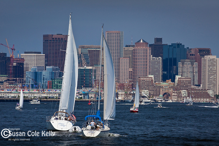 Sailors have a beautiful view of the Boston waterfront from Boston Harbor, Boston, MA,USA