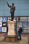 Coventry City 1 Birmingham City 1, 10/03/2012. Ricoh Arena, Championship. A fan looking at a statue to Jimmy Hill at the Ricoh Arena, before Coventry City hosted Birmingham City in an Npower Championship fixture. The match ended in a one-all draw, watched by a crowd of 22,240. Jimmy Hill was a former manager and director of Coventry widely credited with engineering the club's success in the 1960s and 1970s. Photo by Colin McPherson.