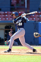 Akron Zips outfielder Darius Washington #48 during a game vs. the Xavier Musketeers at Chain of Lakes Park in Winter Haven, Florida;  March 11, 2011.  Xavier defeated Akron 7-0.  Photo By Mike Janes/Four Seam Images