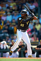 Pittsburgh Pirates first baseman Josh Bell (55) at bat during a Spring Training game against the Tampa Bay Rays on March 10, 2017 at LECOM Park in Bradenton, Florida.  Pittsburgh defeated New York 4-1.  (Mike Janes/Four Seam Images)