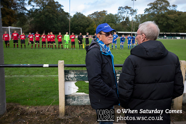Nelson 3 Daisy Hill 6, 12/10/2019. Victoria Park, North West Counties League, First Division North. Home supporters in discussion as the players shake hands before Nelson (in blue) hosted Daisy Hill at Victoria Park. Founded in 1881, the home club were members of the Football League from 1921-31 and has played at their current ground, known as Little Wembley, since 1971. The visitors won this fixture 6-3, watched by an attendance of 78. Photo by Colin McPherson.