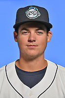 Asheville Tourists pitcher Peter Lambert (24) poses for a photo at Story Point Media on April 5, 2016 in Asheville, North Carolina. (Tony Farlow/Four Seam Images)
