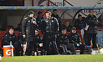 Partick Thistle v St Johnstone....21.01.14   SPFL<br /> Tommy Wright talks with 4th official Barry Cook<br /> Picture by Graeme Hart.<br /> Copyright Perthshire Picture Agency<br /> Tel: 01738 623350  Mobile: 07990 594431