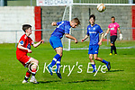 Killarney Athletic's ian Prendergast heads the ball out of danger against Tralee Dynamos in the Denny Premier A soccer league