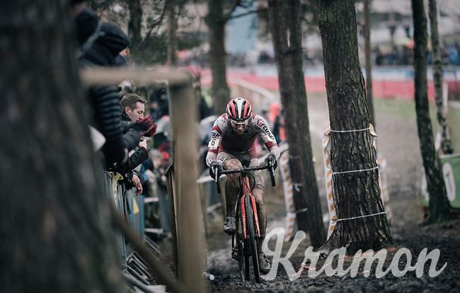 'Best of the rest' Laurens Sweeck (BEL/Era-Circus) following the dynamic duo (van der Poel & Van Aert) in 3rd<br /> <br /> Elite Men's Race<br /> GP Sven Nys / Belgium 2018