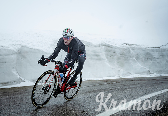 Eduardo Sepúlveda (ARG/Androni Giocattoli - Sidermec) descending from the Passo Giau<br /> <br /> due to the bad weather conditions the stage was shortened (on the raceday) to 153km and the Passo Giau became this years Cima Coppi (highest point of the Giro).<br /> <br /> 104th Giro d'Italia 2021 (2.UWT)<br /> Stage 16 from Sacile to Cortina d'Ampezzo (shortened from 212km to 153km)<br /> <br /> ©kramon