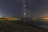 Agios Petros beach at night under the Milky Way in Andros, Greece