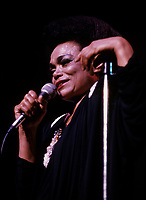 """Montreal (Qc) CANADA - August 8 1986 File Photo -<br /> <br /> Eartha Kitt concert with Marjo in Montreal.<br /> <br /> Eartha Mae Kitt (born on January 17, 1927)[1] is an American actress, singer, and cabaret star. She is known for her role as Catwoman in the 1960s TV series Batman, and for her 1953 Christmas song """"Santa Baby."""" Orson Welles once called her """"the most exciting woman in the world.""""[<br /> <br /> -Photo (c)  Images Distribution"""