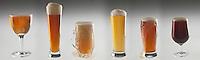 Gastronomie Générale/Bière: Différents types de bière: bière blonde, bière ambrée, bière rousse, bière  brune, bière blanche