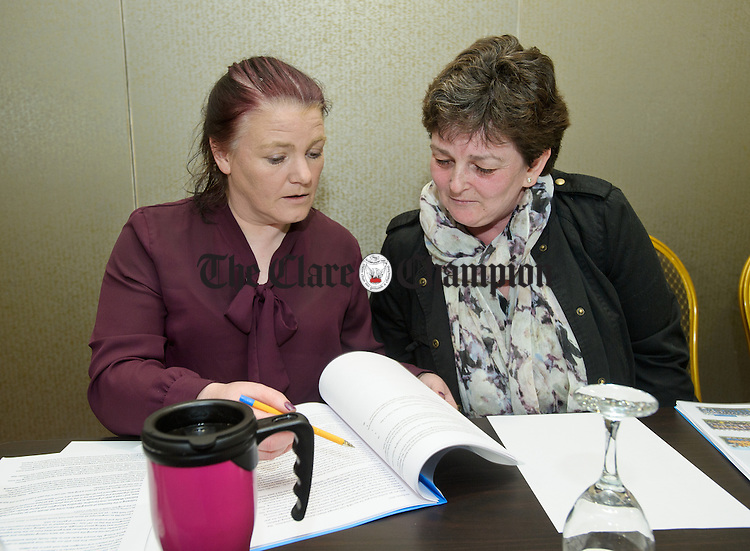 Outgoing PRO Brid Mc Namara with county secretary Alma Keane at the Clare Camogie AGM in Treacys West County hotel. Photograph by John Kelly.