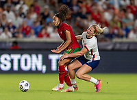 HOUSTON, TX - JUNE 10: Jessica Silva #10 of Portugal fouls Lindsey Horan #9 of the USWNT during a game between Portugal and USWNT at BBVA Stadium on June 10, 2021 in Houston, Texas.
