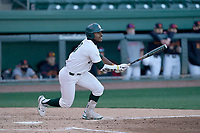 Right fielder Zaid Walker (3) of the Michigan State Spartans bats in a game against the Maryland Terrapins on Saturday, March 6, 2021, at Fluor Field at the West End in Greenville, South Carolina. (Tom Priddy/Four Seam Images)