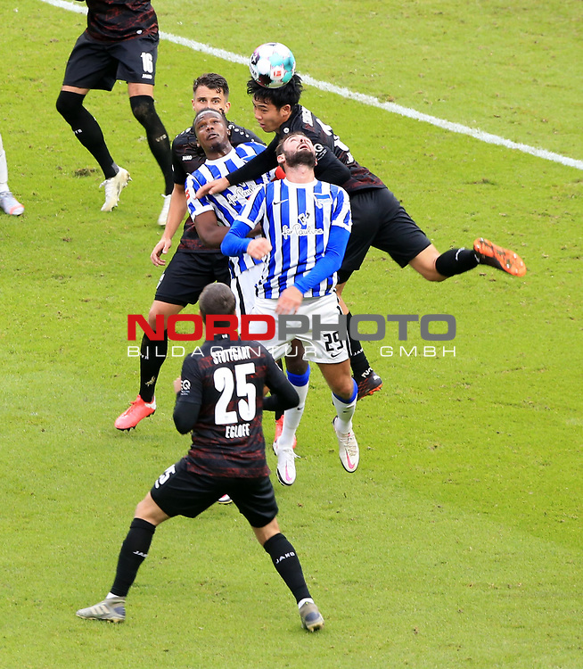 17.10.2020, OLympiastadion, Berlin, GER, DFL, 1.FBL, Hertha BSC VS. VfB Stuttgart, <br /> DFL  regulations prohibit any use of photographs as image sequences and/or quasi-video<br /> im Bild Lucas Tousart (Hertha BSC Berlin #29), Dedryck Boyata (Hertha BSC Berlin #20), Lilian Egloff (VfB Stuttgart #25), Wataru Endo (VfB Stuttgart #3)<br /> <br />       <br /> Foto © nordphoto / Engler